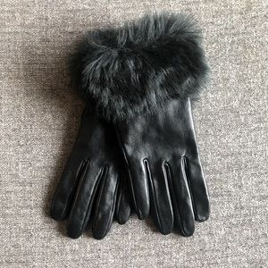 MERONA Black Leather Gloves with Faux Fur Cuffs